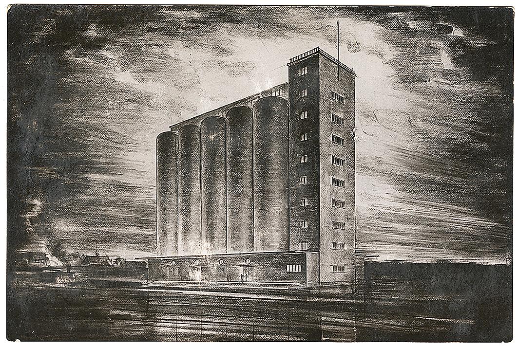 Riigi viljasalve elevaator Tartus, projekt August Komendant, 1939–1940. Teadmata autori perspektiivjoonistusega postkaart.