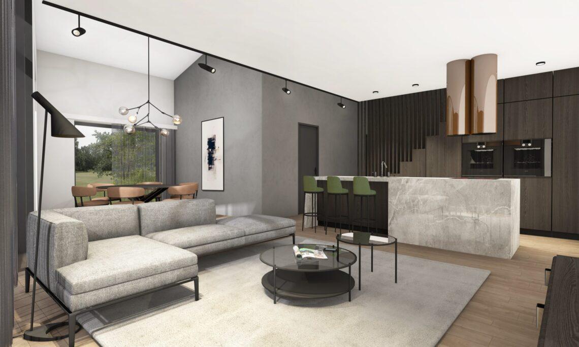 Põnevaks lahenduseks kujunes vahekorrus, avatud kõrge laega elutuba. Ruumide siseviimistlus on neutraalsetes toonides – valge, hall, puit. Bauroc plokk