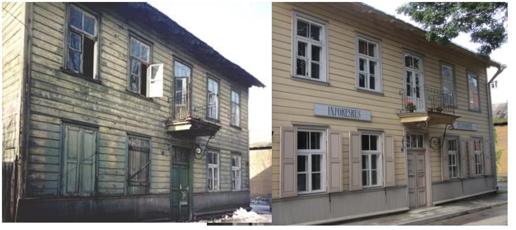 Säästva Renoveerimise Infokeskuse maja enne renoveerimist ja pärast. Keskkonnasõbralike traditsiooniliste materjalidega korrastatud hoone on täna Kalamaja ehteks. Foto: SRIK