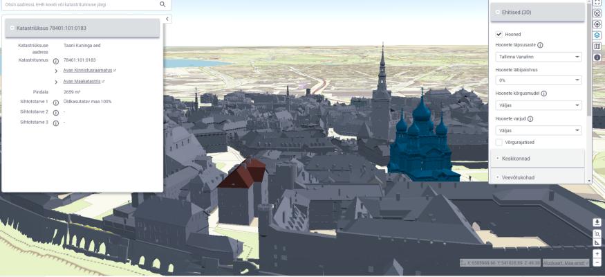 3D kaksik annab Ehitisregistrist pärinevat detailset infot hoonete kohta. Allikas: MKM