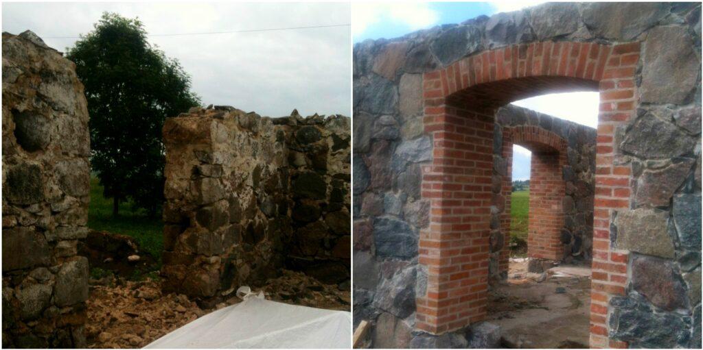 Maakivihoone müüritööd Laekveres – enne ja pärast silluse ja müüritise taastamist.  Foto: Helari Sirelpuu