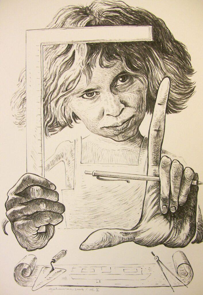Tuntud šaržimeistri Aivar Juhansoni poolt tehtud portree Enelist oli sünnipäevakingiks kallilt sõbralt. Repro
