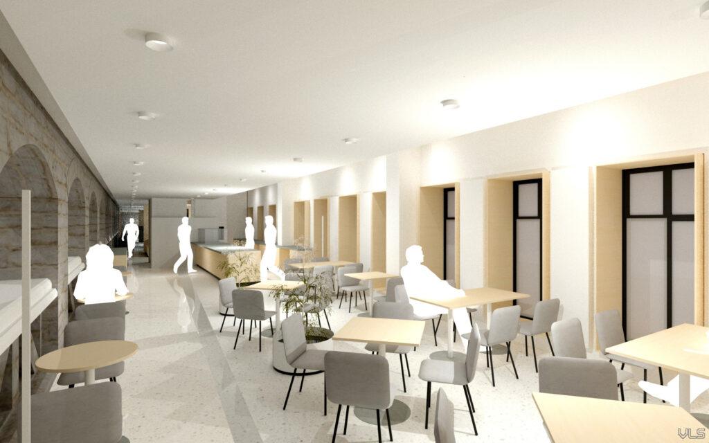 Vaade kohvikule, mis pärast rekonstrueerimist kolib fuajee kohale. Pilt: Sirkel & Mall